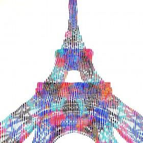 peinture sculpture sur toile création unique et originale de la tour Eiffel monument historique de Paris