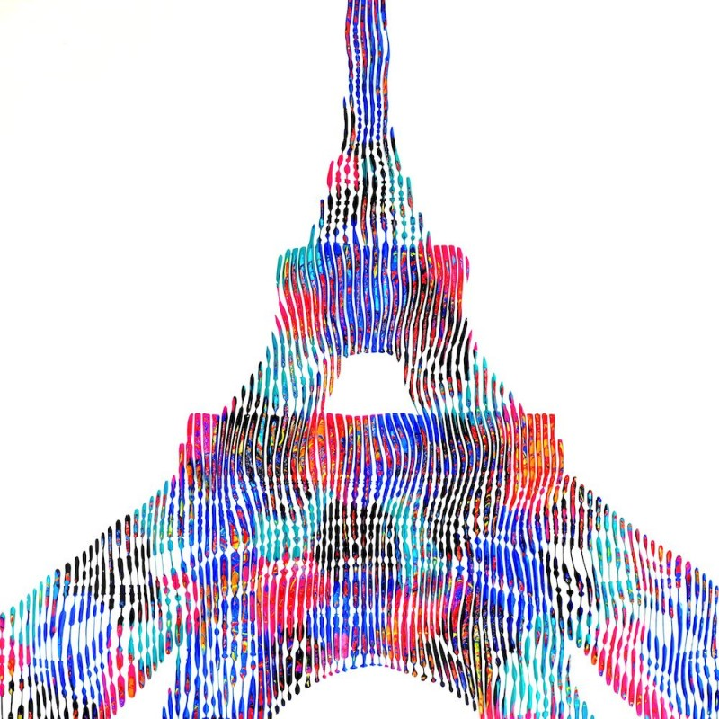 painting sculpture on canvas unique and original creation of the Eiffel Tower historical monument of Paris